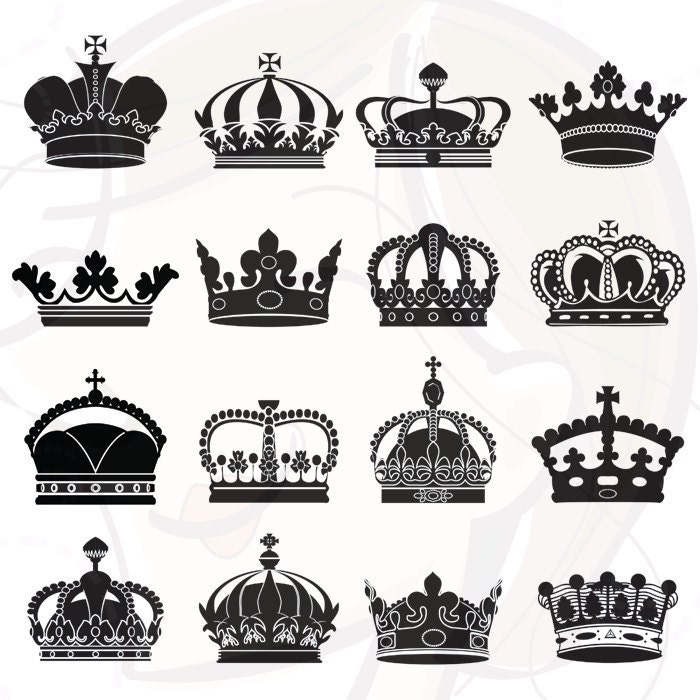 Crown Clipart Silhouette Designs Files Digital by ...