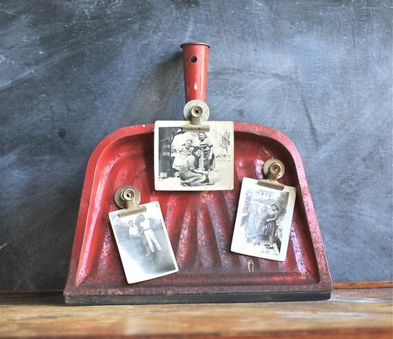 Vintage Distressed Red Metal Dust Pan Repurposed