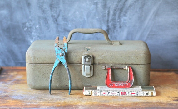 Vintage My Buddy  Fishing Tackle/Tool Box Grayish Green Metal