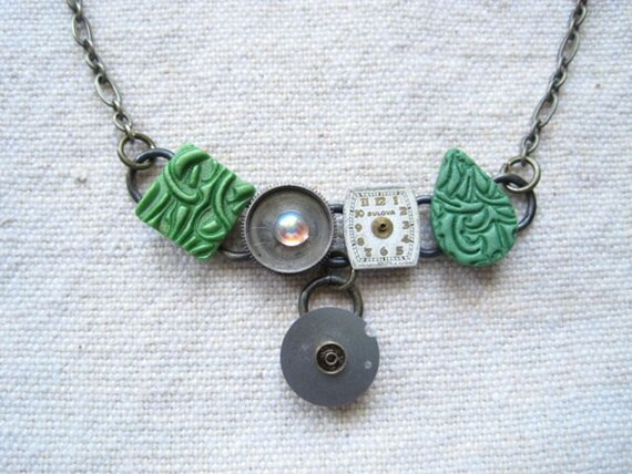 Stamped polymer clay mixed media upcycled CVB necklace - green - Green Goddess