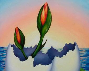 Surreal Flower Giclee Print, Realistic Art Reproduction of Original Painting, 9x12