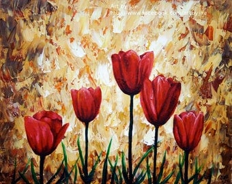 Realistic Red Tulips Print 8x10 Nature Red Flowers
