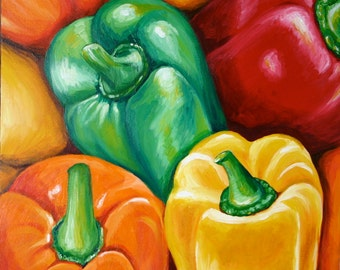 Bell Peppers Print 10x10 Colorful Realistic Reproduction Red Green Yellow Orange