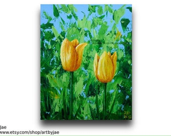 Tulips Impasto Painting Acrylic Yellow Flowers 8x10 Canvas Home Decor Wall Art Realistic Original Colorful Art, Palette Knife Impasto