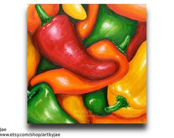 Peppers Painting Kitchen Decor Realistic Acrylic Painting 20x20 Canvas
