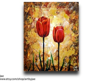 Red Tulips Painting Realistic Acrylic 8x10 Canvas Home Decor Original Palette Knife Impasto Painting,canvas flowers