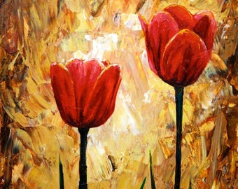 Red Tulips Print Small Wall Art Giclee Print Red Flowers 8x10