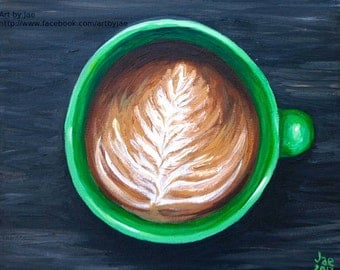 Coffee Cup Art Print Mothers Day Gift Small Wall Art 8x10