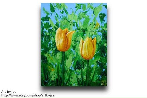 Tulips Impasto Painting Acrylic Yellow Flowers 8x10 Canvas Home Decor Wall Art Realistic Original Colorful Art, Palette Knife Impasto