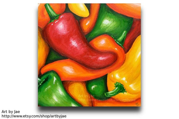 Peppers painting kitchen decor realistic acrylic painting for Paintings for kitchen area