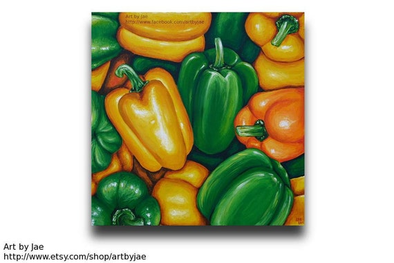 Colorful Realistic Acrylic Peppers Painting in Orange Yellow Green, Original Painting on 20x20 Canvas, Vegetables, Realism