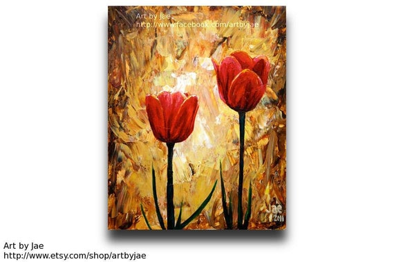 painting red tulips home decor acrylic impasto painting 8x10 wall art