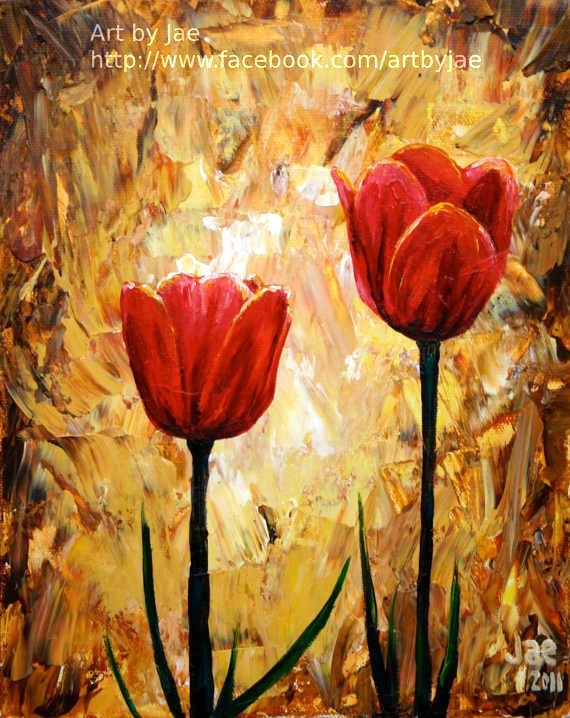 Wedding Gift Paintings : Red Tulips Print Small Wall Art Giclee Print Red Flowers 8x10