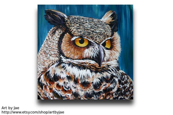 Owl Painting Original Large Wall Art 20x20 on Canvas, Realistic Owl