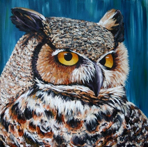 Owl Art Print 10x10 Giclee Print of a Great Horned Owl from an Original Acrylic Painting