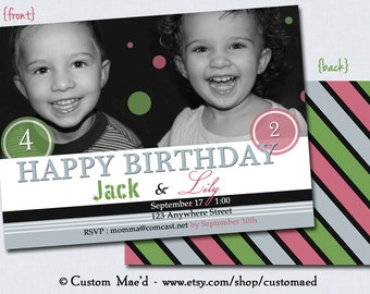 Polka Dot Birthday Invitations PRINTABLE or PRINTS for Shared, Sibling, Friends, or Twins Birthday