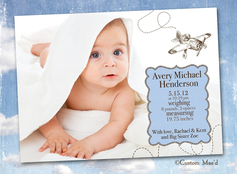Airplane Birth Announcement Aviator Baby Aviation – Birth Announce