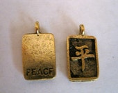 2 ANTIQUE GOLD Chinese Peace CharmS