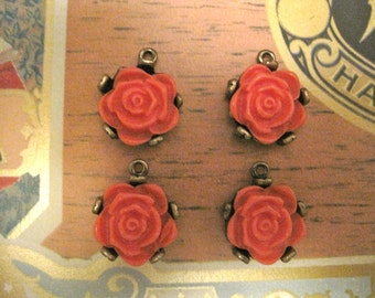 4 CORAL ROSE PENDANTS