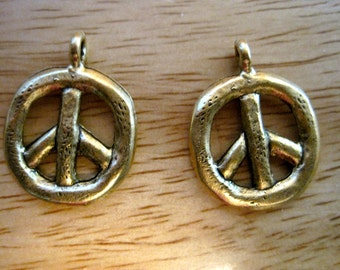 2 Rustic Antique Gold PEACE SIGN CHARMS