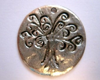 TREE OF LIFE Pewter Hammered Disc Pendant