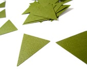 Olive green triangles garland shapes die cuts paper punches green and white olive wedding colors set of 30 tangrams