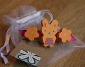 Wood Bunny Rabbit and Flower Hair Barrette / Hair Clip for little girls - Orange & Fuschia Pink