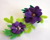 Purple Flower and Leaf Design Brooch Corsage / Hair piece with mother of pearl & lampwork beads.