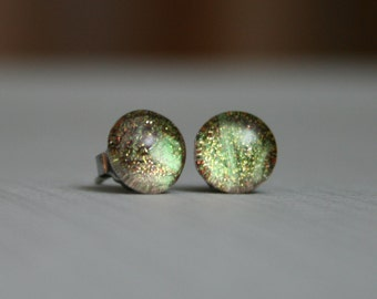Terra Firma - Green, Orange and Gold - Color Changing - Stainless Steel Stud Earrings