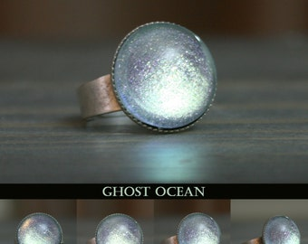 Ghost Ocean Silver Blue and Green Color Shifting Ring