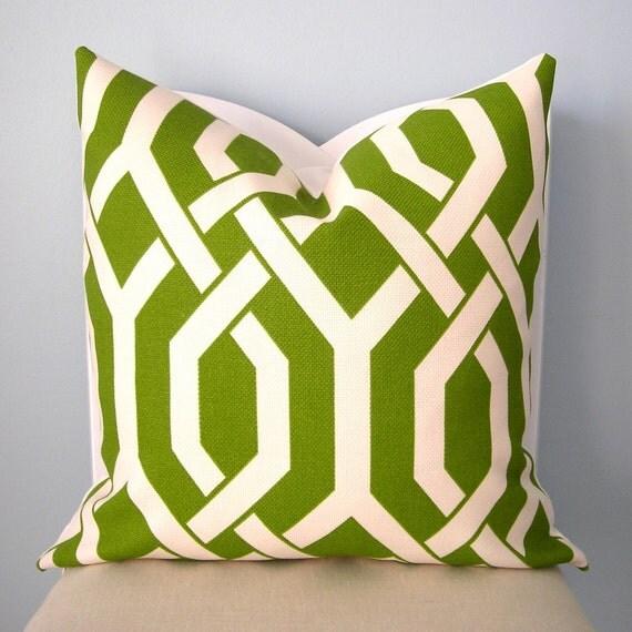 Slick Green and White Geometric Trellis Decorative Pillow Cover 20x20