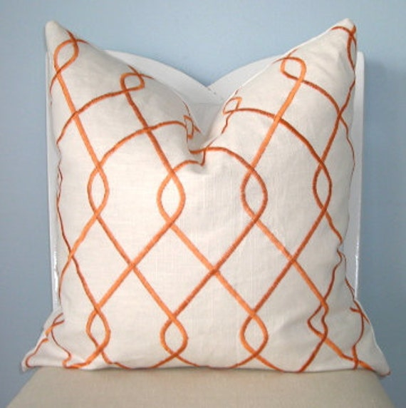 Orange and White Geometric Embroidered Decorative Pillow Cover 20 x 20
