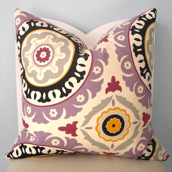 Suzani Lilac/Black Decorative Pillow Cover 18 x 18