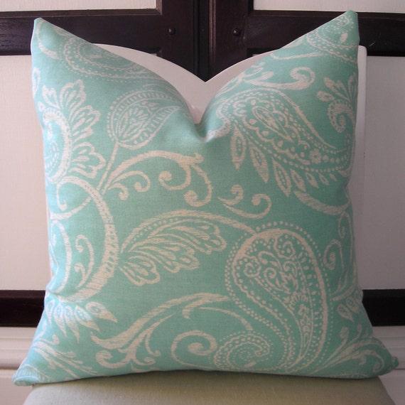 Turquoise Blue Paisley Decorative Pillow Cover 16 x 16