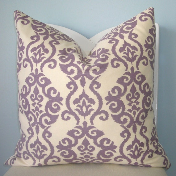 Lilac and White Modern Damask Decorative Pillow Cover 18 x 18