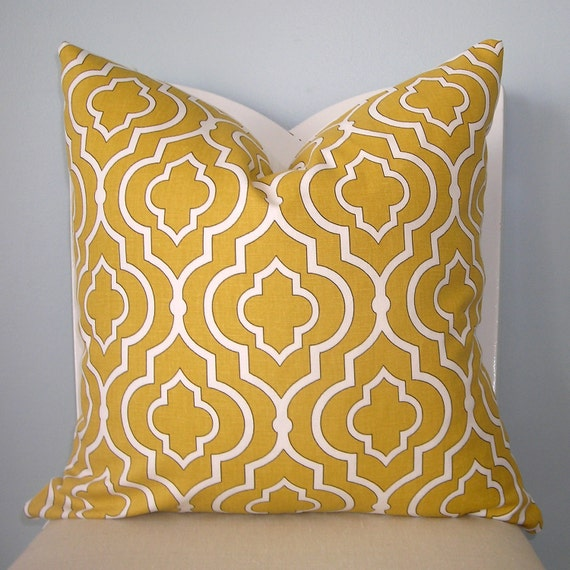 Yellow and White Moroccan Tile Geometric Pillow Cover 18 x 18