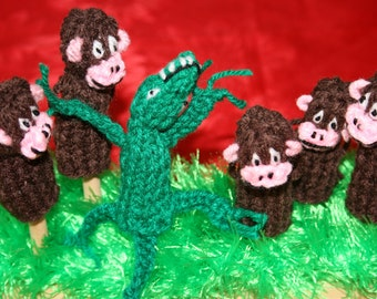 Five Monkey And Crocodile Finger Puppets. Great Teacher Resource.