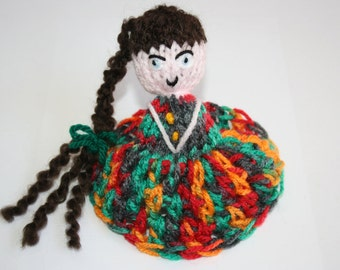 Sale~ Was 25Dollars Beautiful Hand Knitted Doll In Multi-coloured Dress Made By Kirsty Wright.