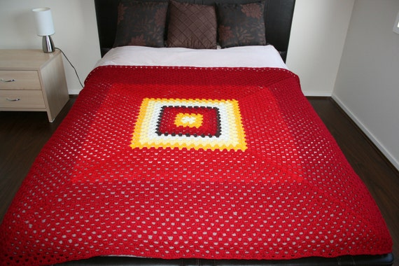Modern Double Bed Size Crochet Blanket Afghan Red Orange And