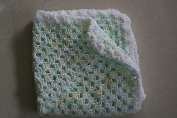 Crochet Baby Blanket 44cm x 44cm Pastels Blue White And Yellow