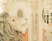 Carousel Lion - 8x10  photograph - fine art print - whimsical carnival photography - pastels