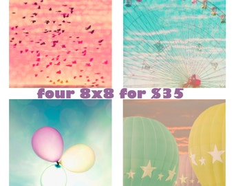 """Set of four 8x8 photographs  - """"Magical Day"""" - Nursery art - Carnival art - fine art prints - pastel colors - baby gift"""