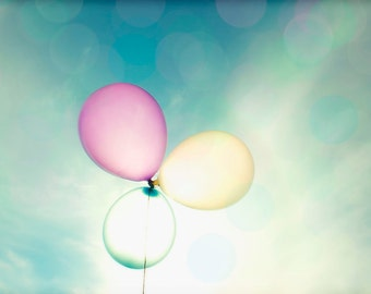 "Balloons - 8x10 photograph - ""Into the Sun"" - fine art print - floating pastel balloons - nursery art - whimsical balloons"