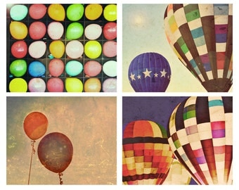 Fly Away With Me - Set of Four 8x10 photographs- fine art prints - hot air balloons - gift