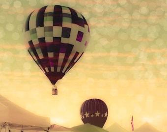 Hot Air Balloons 16x24 photograph - fine art print - whimsical vintage balloons - carnival photography - nursery art