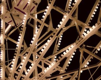 Ferris Wheel - 20x20 photograph - fine art print - vintage photography - night ferris wheel-  carnival