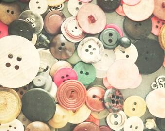 Buttons Photograph - 8x10 - vintage buttons -  fine art print - vintage photography