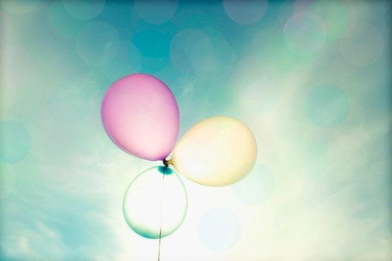 "Balloons - 8x10 photograph - ""Into the Sun"" - fine art print - floating pastel balloons - nursery art - whimsical balloons"