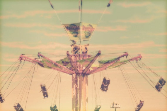 "Carnival Art - ""Swing With Me"" - fine art print - vintage photography - carnival ride art - whimsical nursery art"