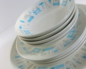 """RESERVED FOR LENORE --12-Pc Mid-Century """"Blue Heaven"""" Dishes Royal China Atomic Blue, Gray & White 1960s - Service for 4"""